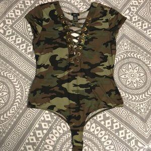 Camo Lace Up women's body suit